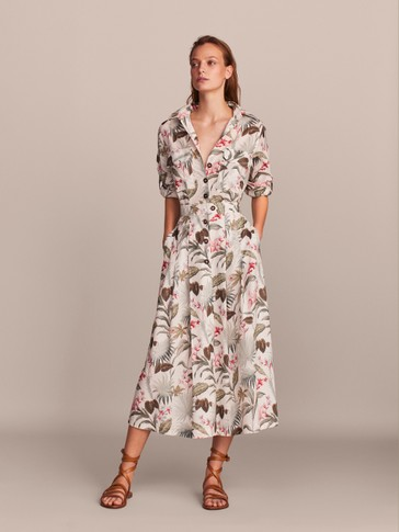 FLORAL PRINT COTTON SHIRT DRESS