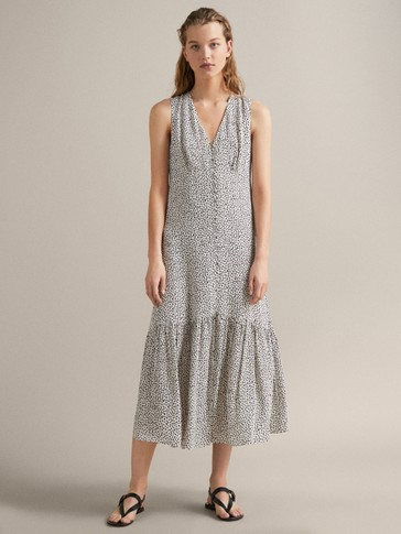 TWO-TONE PRINT DRESS WITH TIE BELT