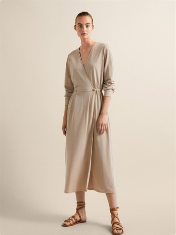 BUTTONED CROSSOVER DRESS