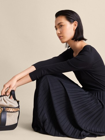 Pleated Black Dress by Massimo Dutti