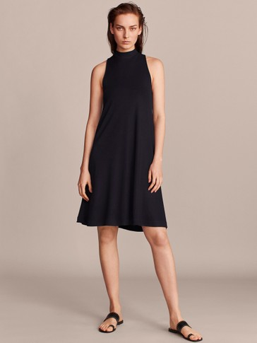 TEXTURED NAVY DRESS