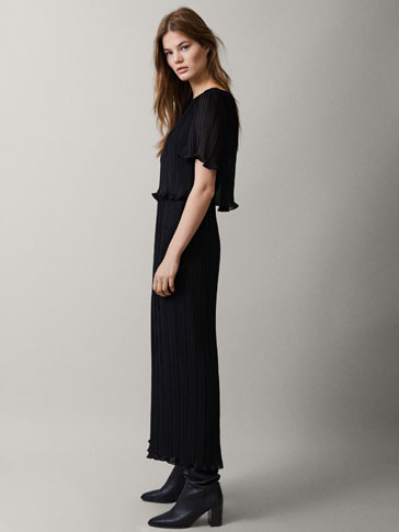 BLACK PLEATED DOUBLE-LAYER JUMPSUIT