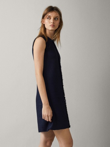 TEXTURED NAVY DRESS WITH FRAYED TRIMS