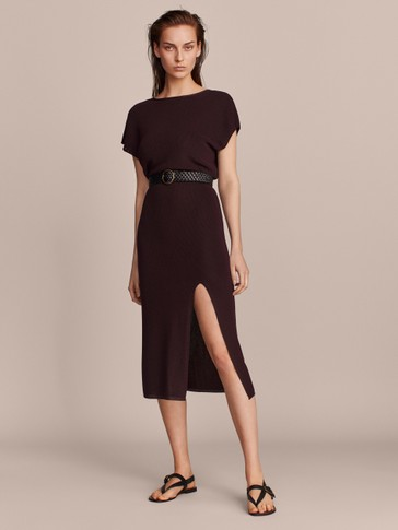 TEXTURED DRESS WITH LOW-CUT BACK