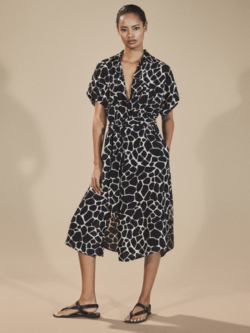 GIRAFFE PRINT SHIRT DRESS WITH TIE BELT