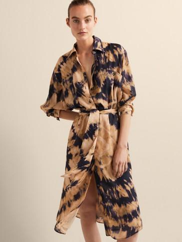 TIE-DYE PRINT SHIRT DRESS WITH TIE BELT