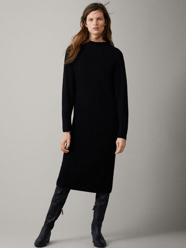 100% CASHMERE RIBBED DRESS