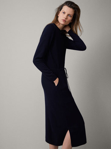 NAVY WOOL DRAWSTRING DRESS
