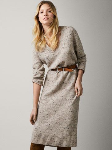 Flecked Knit Dress by Massimo Dutti