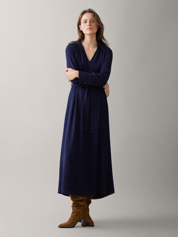 NAVY SHIRT DRESS WITH TIE BELT