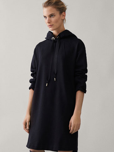 Black Sweatshirt Dress by Massimo Dutti