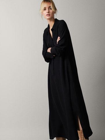 Vestido negro tipo camisero