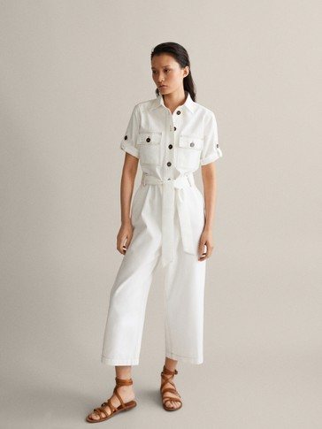 COTTON JUMPSUIT WITH TOPSTITCHING