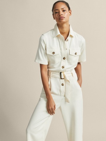 COTTON JUMPSUIT WITH TOPSTITCHING AND BELT