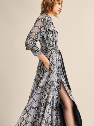 Snakeskin Print Dress With Tie Belt by Massimo Dutti