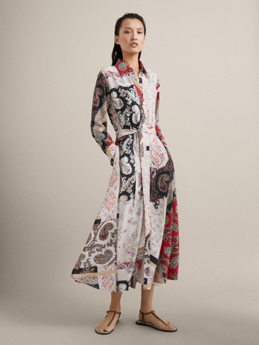 PAISLEY PRINT DRESS WITH BELT
