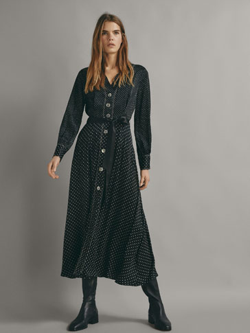 POLKA DOT PRINT DRESS WITH TIE BELT