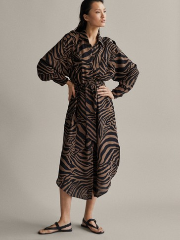 BELTED ZEBRA PRINT DRESS