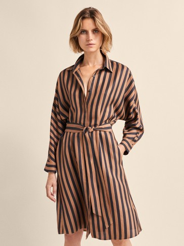 STRIPED DRESS WITH TIE BELT
