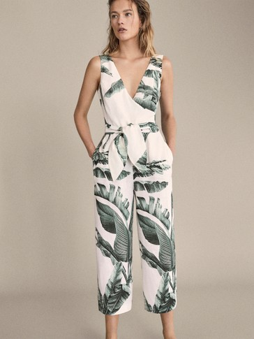 PALM TREE PRINT LINEN JUMPSUIT