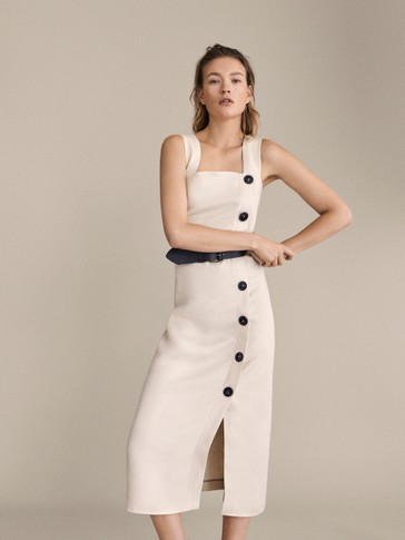 100 Percents Linen Dress With Buttons by Massimo Dutti