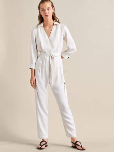 WRAP CARGO JUMPSUIT WITH POCKETS