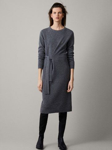 100% CASHMERE TIED DRESS
