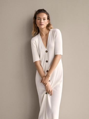 Ribbed Dress With Belt by Massimo Dutti