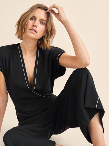 CONTRAST BLACK WRAP JUMPSUIT