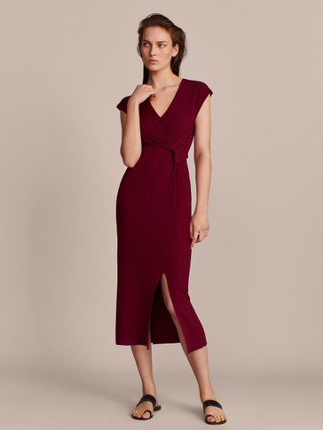 TEXTURED DRESS WITH KNOT