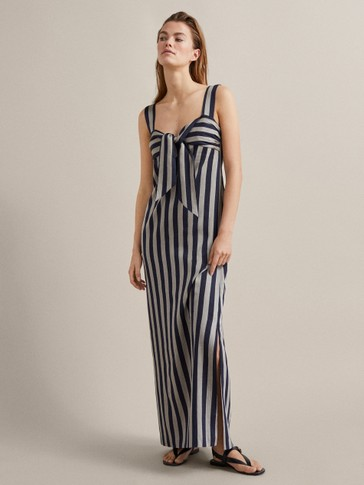 STRIPED LINEN DRESS WITH KNOT