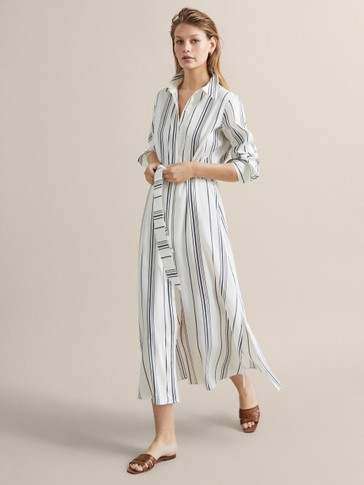 STRIPED LINEN DRESS WITH BELT