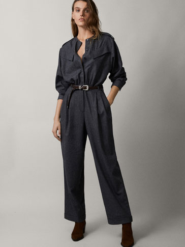 FLANNEL WOOL JUMPSUIT WITH POCKETS