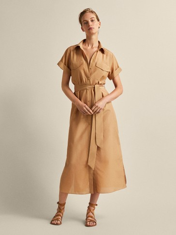 COTTON AND SILK SHIRT DRESS WITH BELT