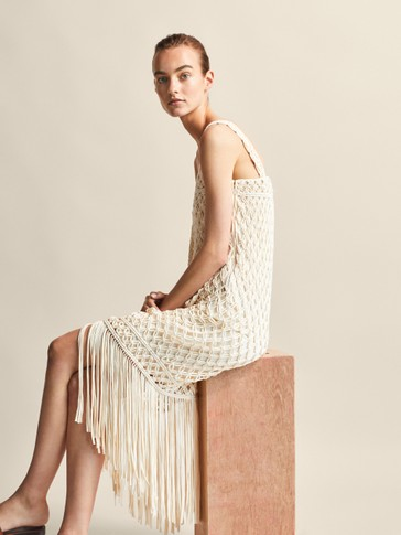 FRINGED COTTON CROCHET DRESS