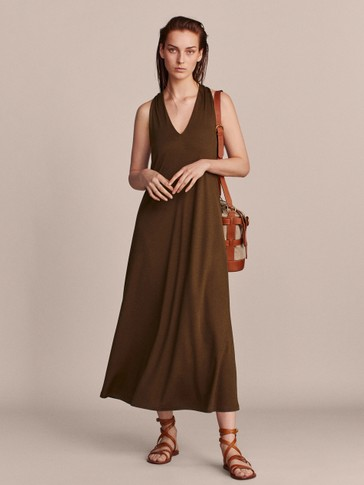 KHAKI LYOCELL DRESS WITH CROSSED BACK