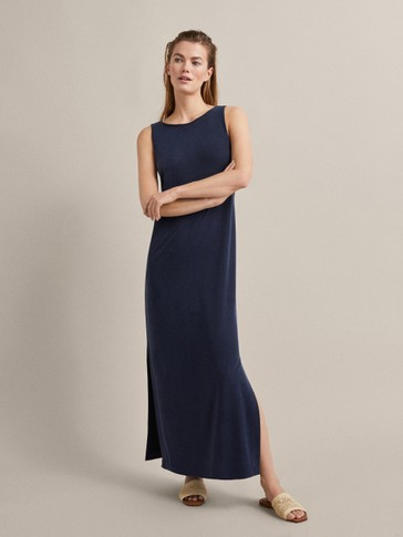 PLAIN NAVY BLUE CUPRO DRESS