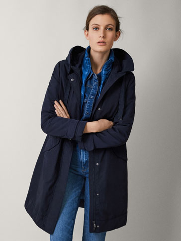 NAVY BLUE PARKA WITH REMOVABLE LINING