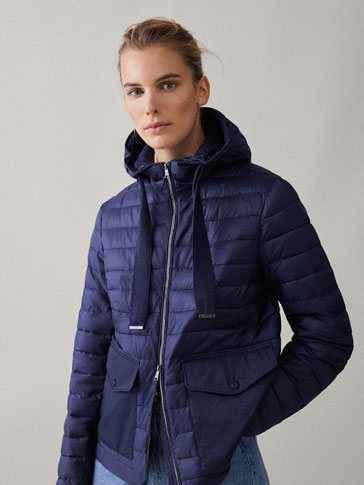 PUFFER JACKET WITH CONTRAST POCKETS