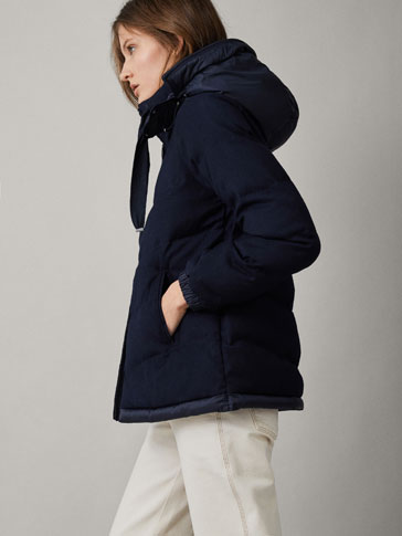 NAVY BLUE FLANNEL PUFFER JACKET