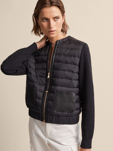 BOMBER DOWN JACKET WITH LEATHER DETAIL