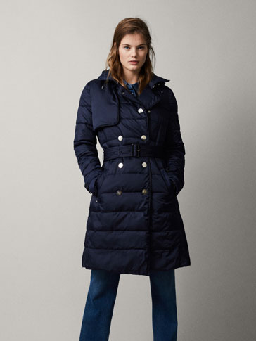 NAVY BLUE PUFFER TRENCH COAT WITH BELT