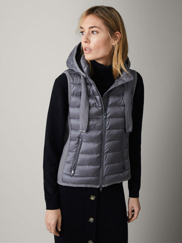 COMBINED PUFFER AND KNIT GILET