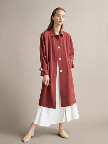 RELAXED TRENCH COAT WITH TOPSTITCHING