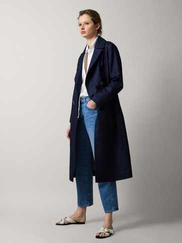 LINEN COTTON DENIM TRENCH COAT