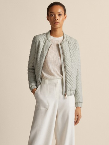 Quilted Herringbone Bomber Jacket by Massimo Dutti