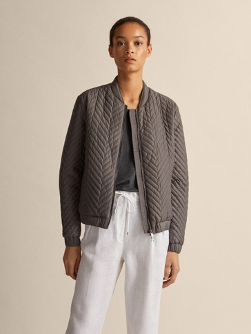 QUILTED HERRINGBONE BOMBER JACKET