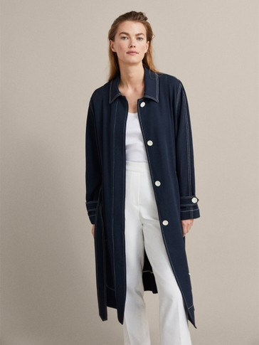 NAVY BLUE TRENCH COAT WITH TOPSTITCHING