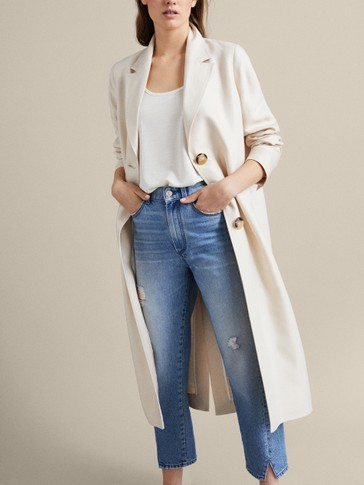 PLAIN LINEN TRENCH COAT