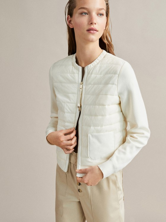 Massimo Dutti - QUILTED BOMBER JACKET WITH CONTRAST KNIT SLEEVES - 5